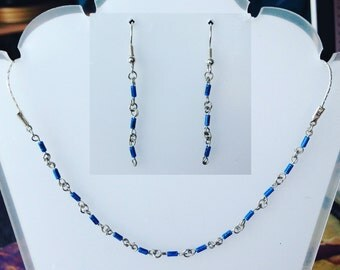 Blue diodes set (earrings + necklace)
