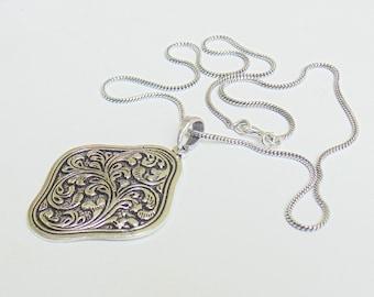 "Tribal Pendant | Flower Pendant | 18"" Chain Pendant | Ethnic Jewelry | Everyday Silver Pendant | Fashion Pendant | Festival Pendant | P18"