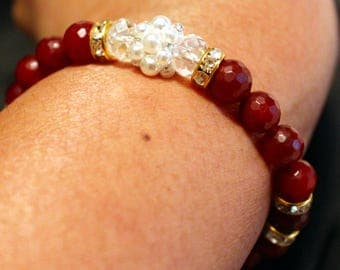 Beautiful Ruby & Pearl beaded handmade shamballa bracelet; beadweaving, cute, party wear, casual wear