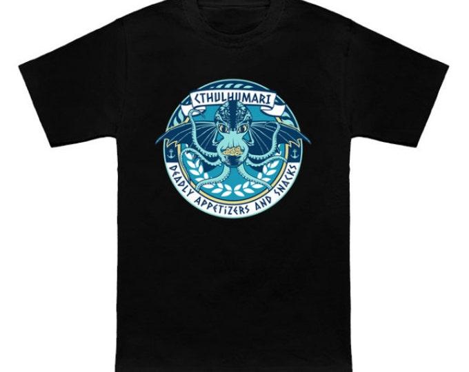 CTHULHU'S DEADLY SNACKS Geek T-Shirt Cthulumari Hp Lovecraft Funny Parody Nerd Pop Culture Horror Shirt
