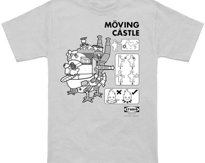 MOVING CASTLE Howls Moving Castle Sootballs Calcifer Geek T-Shirt Nerd Anime Shirt Studio Ghibli Hayao Miyazaki