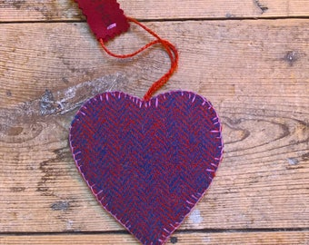 Love Heart Shetland Tweed Hanging Decoration Hand Cut and Stitched Blue/Red One Side, Pink The Other