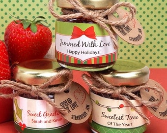 Holiday Party Favors, Personalized Holiday Jam Favors - Set of 24