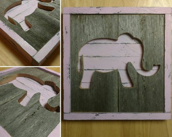 Nursery animal wall decor - Elephant - Reclaimed Wood - Barnwood - Pallet wall art - Hippo - Giraffe - Whale - Moose -  Goose - Pink