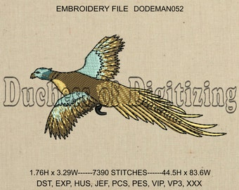 Pheasant Embroidery Design, Bird Embroidery Design, Pheasant Embroidery File, Bird Embroidery File, DODEMAN052