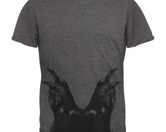 Quoth the Raven Nevermore All Over Dark Heather Soft Adult T-Shirt