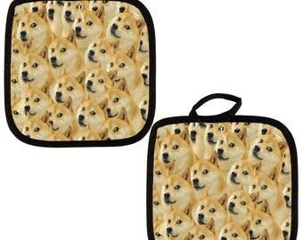 Doge Dog Meme All Over Pot Holder (Set of 2)