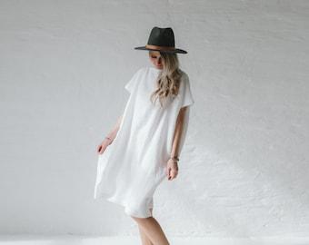 LINEN dress OVERSIZED white LOOSE tunic dress stone washed