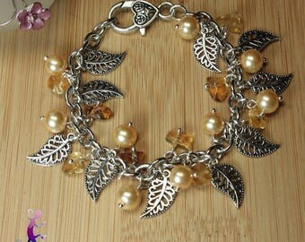 "Bracelet ""Ipora"" citrine with rebirth and silver metal leaf beads"