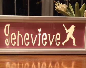 Personalized Softball Sign with light, Perfect Night Light.