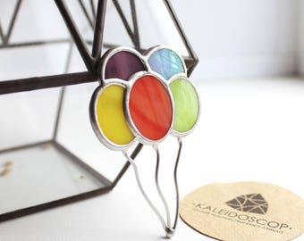 Bright Stained Glass Brooch Balloons, Brooch Balloons, Stained glass brooch, Balloons, Tiffany Technique, Brooch made of glass, gift for her