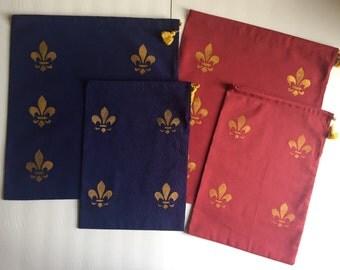 Shoe bag with fleur de lys design. LARGE