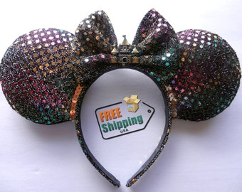 Castle & Fireworks Disney Inspired Mouse Ears ... Free Shipping !!!