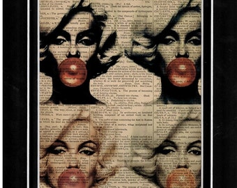 Antique dictionary Marilyn Monroe art