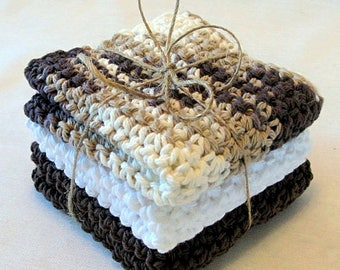 Dish Cloth/Crocheted Cotton Dish Cloth/Wash Cloth/Face Cloth/Baby Wash Cloth/Scrubby/Primitive/Farm House - Set of 3