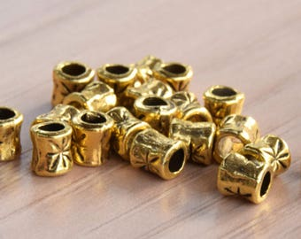 50 SMALL Antique Gold Plated Tube Spacer Beads.  5mmx4mm Gold Plated Etched Beads with 3mm Hole Size.  Small Gold Base Metal Etched Beads.
