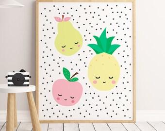 Fruit print, fruit wall art, fruit poster,SALE,  fruits art print, citrus fruits, kitchen wall art, kitchen decor, fruit decor, Kitchen art