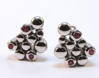 Earrings Silver 925, cylinders with Emerald, Sapphire or Ruby, collection JUGGLING