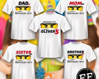 Lego Ninjago Personalized Birthday T-Shirt Printable File Iron On