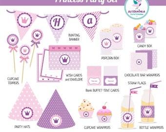 Princess Birthday Decorations Set. Princess Birthday Party Printables. Princess Party (Instant Download)