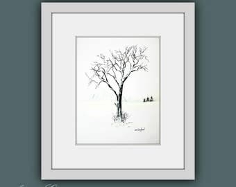 Fine Art Prints, Tree Painting, Modern Wall Art, Contemporary Art, Black and White Modern Art