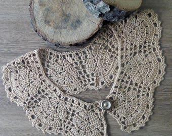 crochet necklace collar,brown  Camel Peter Pan collar, Detachable collar, Lace collar, Crochet Jewelry,Women accessory