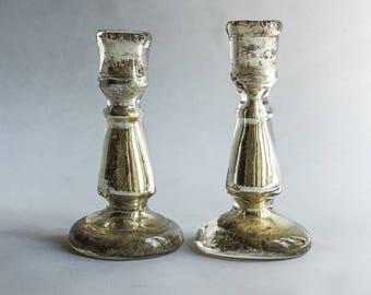 18th century Venetian mercury glass candlesticks
