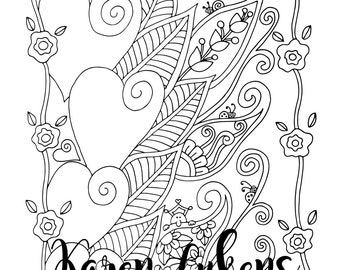 """Valentine's - """"Swirl My Heart"""", 1 Adult Coloring Book Page, Instant Download, Valentine's"""