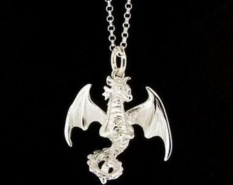 Sterling Silver Dragon Pendant & Chain