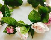 Floral hair crown, bridal hair piece, rose hair clip, wedding hair accessories, blue floral pin, bohemian bride, bridal hairpiece, crown