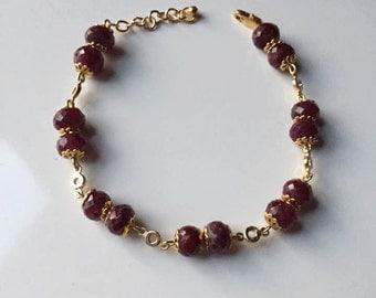 Natural Ruby Bracelet July Birthstone
