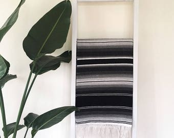 Mexican Blanket Serape - Black and white - Gift for him or her