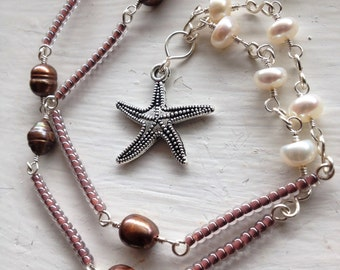 Starfish and Freshwater Pearl Necklace