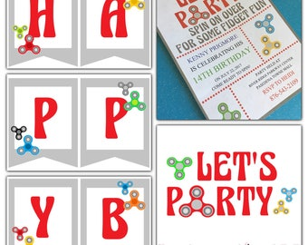 Digital Complete Party EDITABLE Fidget Spinner Birthday Let's Party Set Invitations Banner Sign Thank You Tags Water Labels Cupcake Toppers
