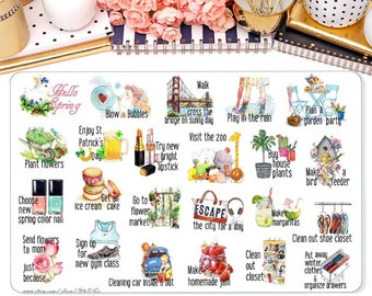 Spring Bucket List Planner Sticker, To do Stickers, Spring Stickers, Spring To Do Stickers for Erin Condren, Happy Planner and Many more