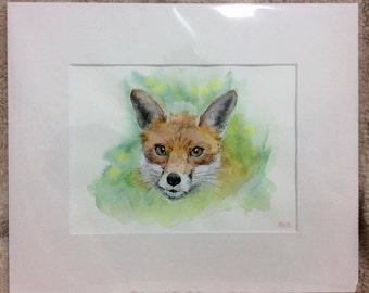 "Foxy 12"" x 10"" Original watercolour painting"