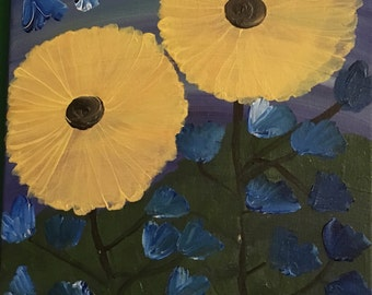 11x14 Sunflowers and Blue Bells!