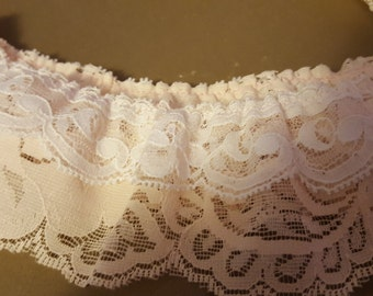 """Beautiful Vintage  Light Pink with Top White Lace with Flower Design 2"""" (6cm) Wide and 2.2 yards (200cm)"""