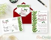 Printable Christmas Wedding Invitation and RSVP Template  Christmas Party Invitation Wedding Stationery Holiday Card Printable Invite