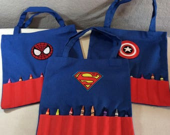 Childrens Superhero Crayon Tote Bag
