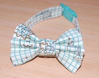 Cat Bow Collar - Science Grid Print - Breakaway Clip and Adjustable - Organic Cotton