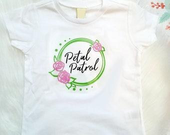 Petal Patrol, Flower Girl Shirt, Glitter Flower Girl, Wedding, Bride, Rehearsal Dinner,  Brides Maid, Bachelorette Party, Flower