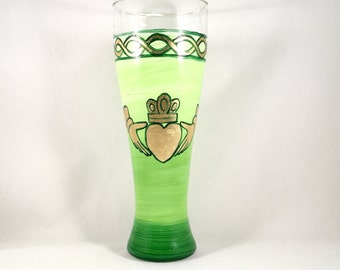Large beer glass with Irish claddagh in gold metal leaf and green, for St. Patrick's day or any day to symbolize love friendship and loyalty
