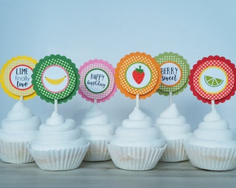 Tutti Fruitti Cupcake Toppers - Two-tti Fruitti Cupcake Toppers, Tutti Frutti Party, Twotti Fruity, Fruit Theme Cupcake Toppers- SET OF 12