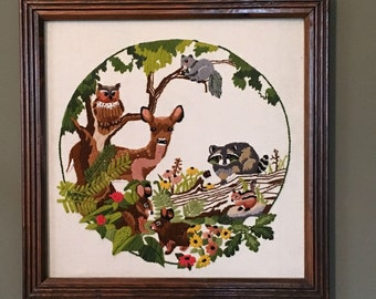 Embroidered Wall Decor Nature Fawn Deer Raccoon Squirrel Bunny Chipmunk Animals