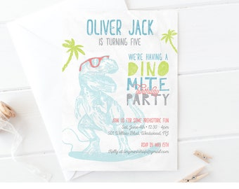 Dinosaur Birthday Invitation | Cool Surfer Dino Party Invite | Printable | Boy Birthday | Instant Download | Editable Template | PDF #043BBD