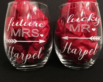 Future Mrs. Lucky Mr. wine glass. set of 2