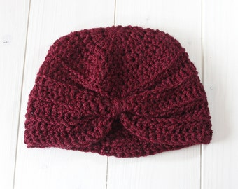 Baby turban hat, Baby hat, Baby girl hat,  Baby girl turban hat, Burgundy Turban hat, Hat, Baby shower gift, Hat, Photo prop,Ready to ship,
