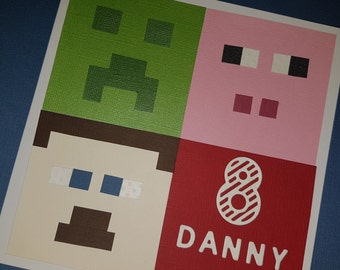Childrens Minecraft Birthday Card