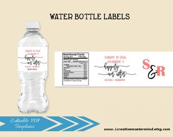 DIY Wedding Water Bottle Label Template, Editable Water bottle template, Printable Wedding template, Instant Download, #1CM87-1